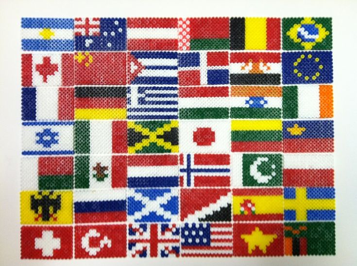 A collection of some of the flags of the world, made out of perler beads. Started with the nations of Hetalia and went from there (which is why Sealand is included). 1) Argentina 2) Australia 3) Au...
