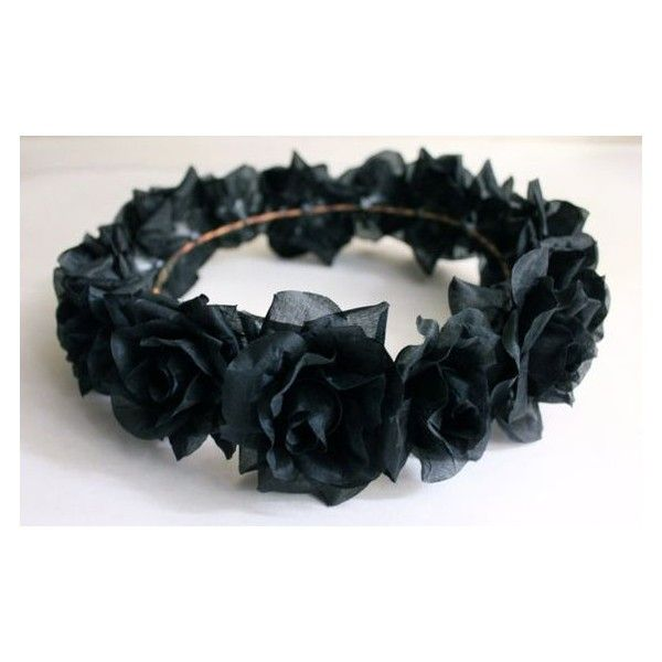 Black Flower Crown, Gothic Flower Crown, Black Flower Headband, Rave... ❤ liked on Polyvore featuring accessories, hair accessories, flower garland, floral garland, head wrap hair accessories, rose headband and rose hair accessories