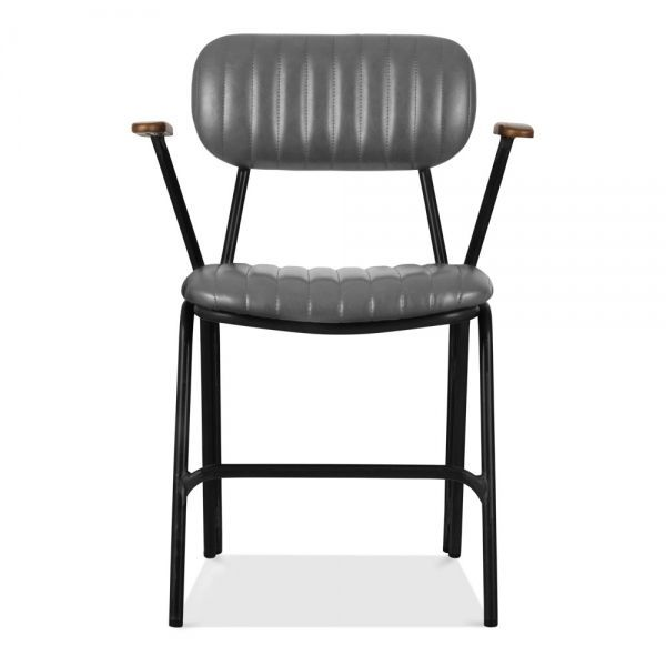 Boston Metal Dining Armchair Faux Leather Upholstered Grey Armchair Boston Dining Faux Grey Leather In 2020 Dining Arm Chair Upholstered Dining Chairs Upholster