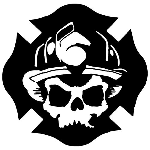 Firefighter Skull Laptop Car Truck Vinyl Decal Window Sticker PV286