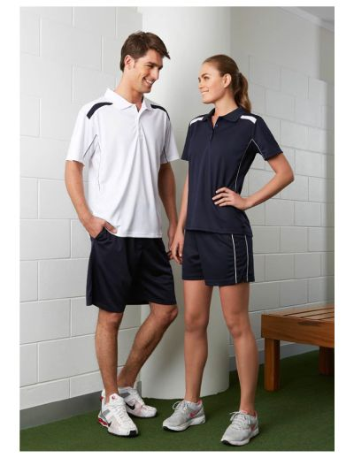 BIZ COOL™ 100% Breathable Polyester Mesh Knit Fully elasticised flat waist with matching flat draw cord Side splits with herringbone tape on straight hem 2 Contrast white piping on each side 160 GSM Modern Fit