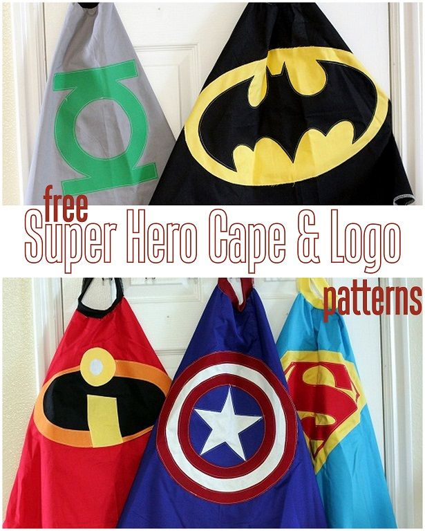super hero cape and logo pattern free diy