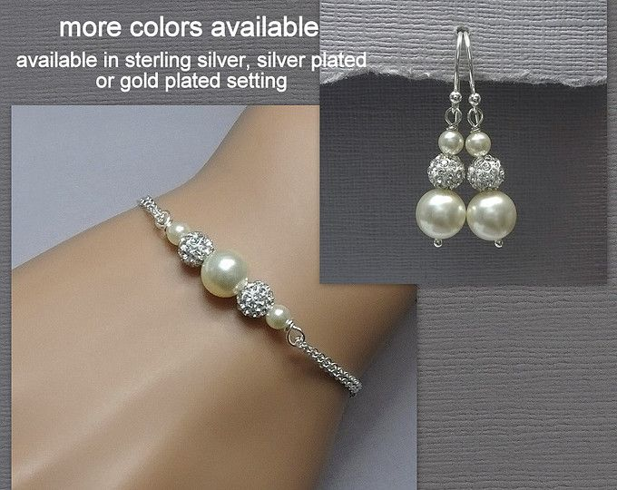 Swarovski Ivory Pearl Bracelet and Earring Set, Bridesmaid Bracelet and Earrings, Bridesmaid Gift Jewelry Set, Wedding Bracelet and Earrings