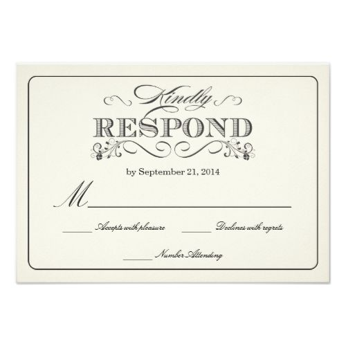 Formal Wedding Invitation RSVP RSVP Vintage White Wedding Reply Cards