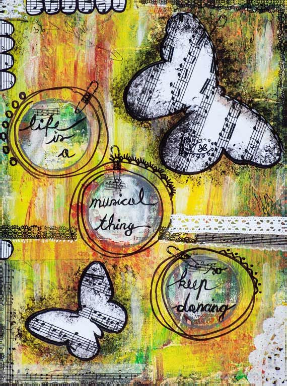 Inspirational Life and Music Quotes - Mixed Media Collage Fine Art Print - Motivational Image - Cool Room Decor - Gift for Music Lover