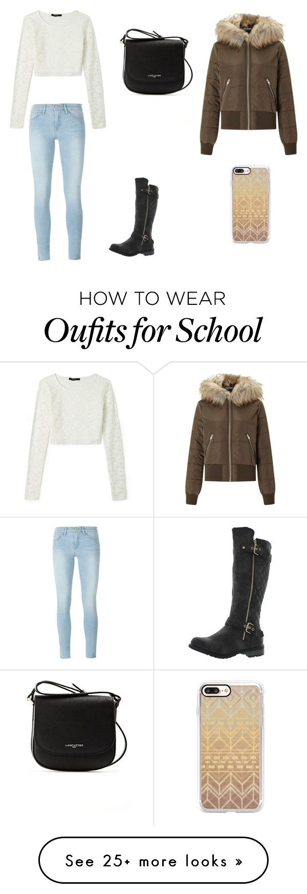 """""""School in Winter"""" by juliasunny-1 on Polyvore featuring Miss Selfridge, Frame, Forever Link, Forever 21, Lancaster and Casetify"""