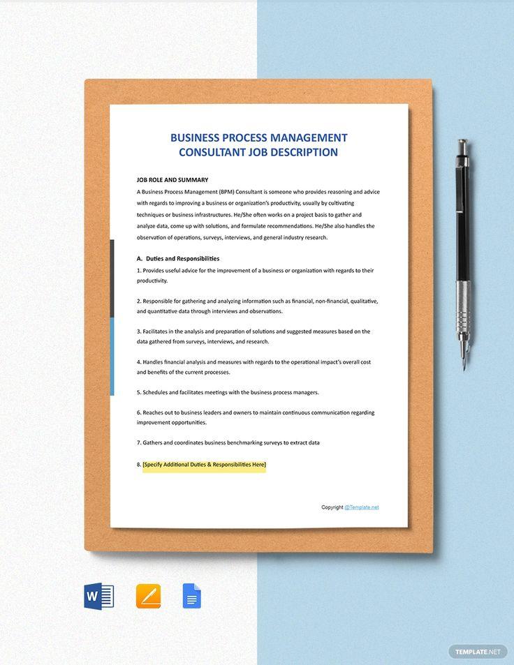 Free BPM Consultant Job Description Template in 2020 Job