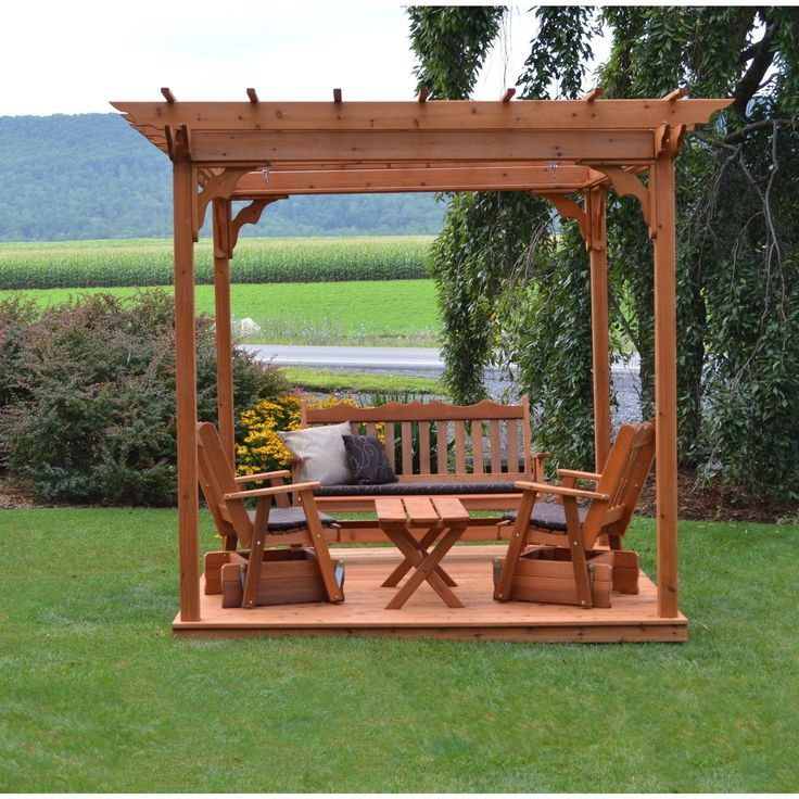 A L Furniture Co Western Red Cedar 8 X8 Pergola W Deck Swing Hangers Ships Free In 5 7 Business Days Avec Images Pergola Plans De Pergola Pergola Terrasse