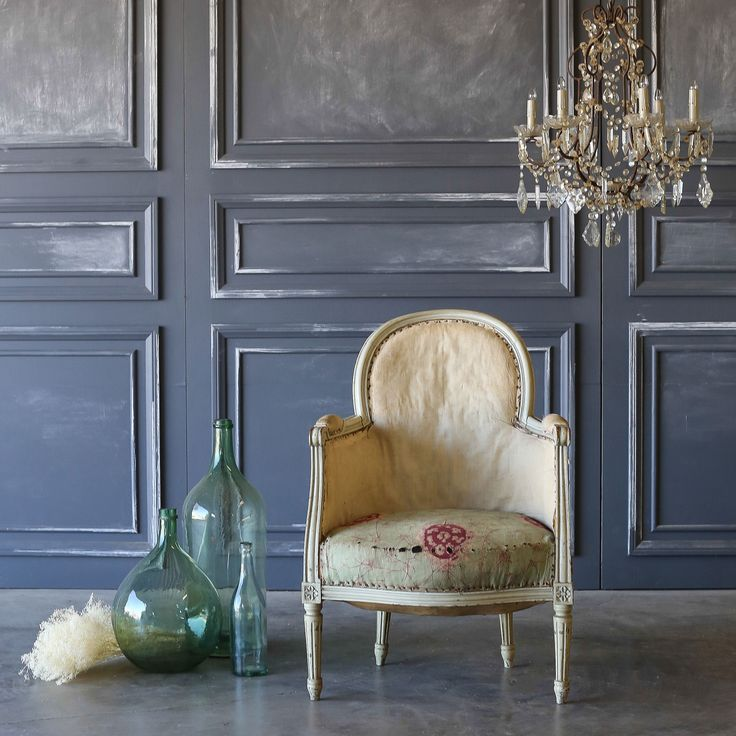 This gorgeous, petite Bergere Petite Louis XVI is from France. The classic style is finished in a lovely distressed duck egg paint. Please note that this is an antique and will show wear.