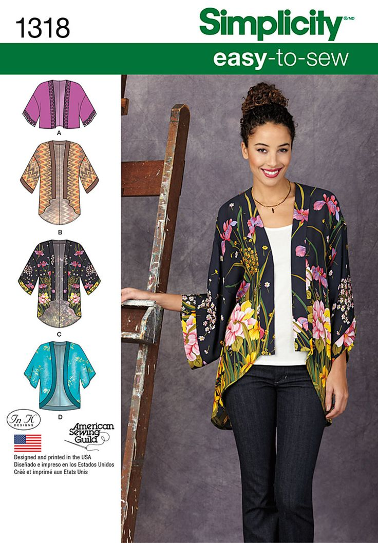 Easy to sew kimono for any occasion. Simplicity pattern includes a kimono with contrast bands, cropped with lace trim or draped high-low hem with option of contrast banded front and cuffs.