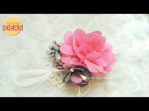 Headband Ideas : Blooming Rose - Crepe Fabric Flower Tutorial | DIY by Elysia Handmade - YouTube