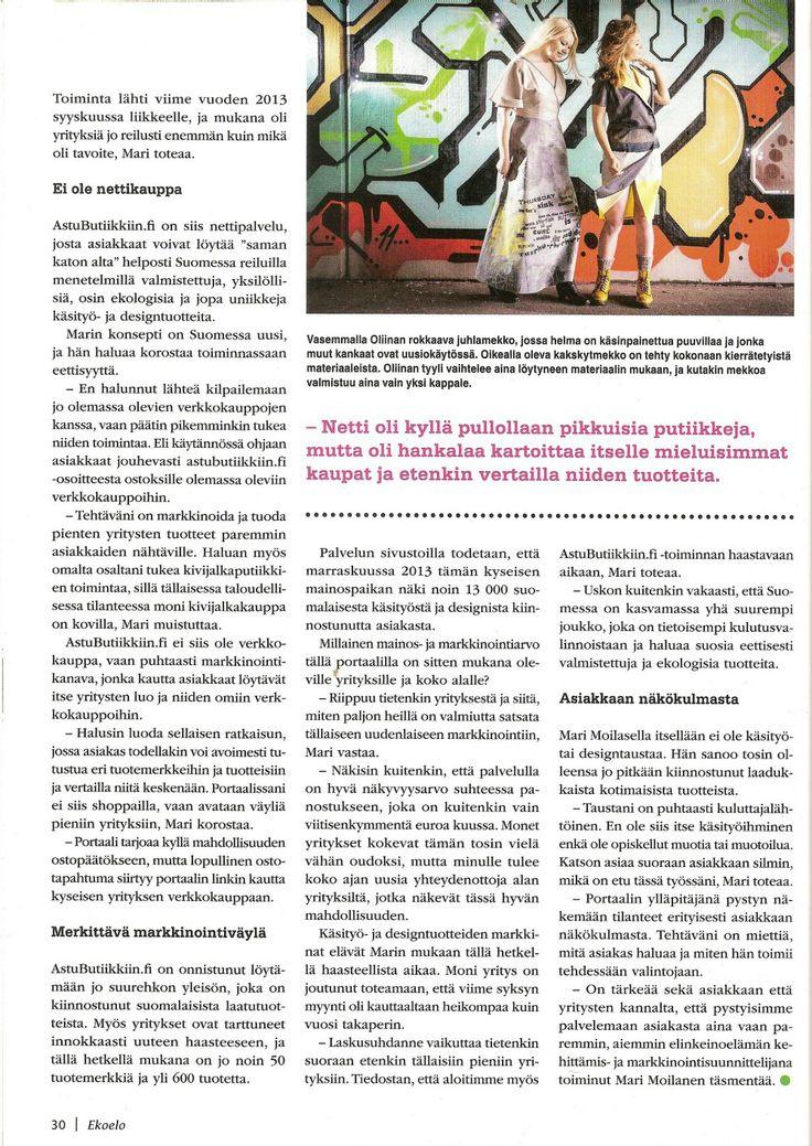 AstuButiikkiin.fi Ekoelo-lehdessä 02/2014. Kuvassa Oliinan tuotteita.