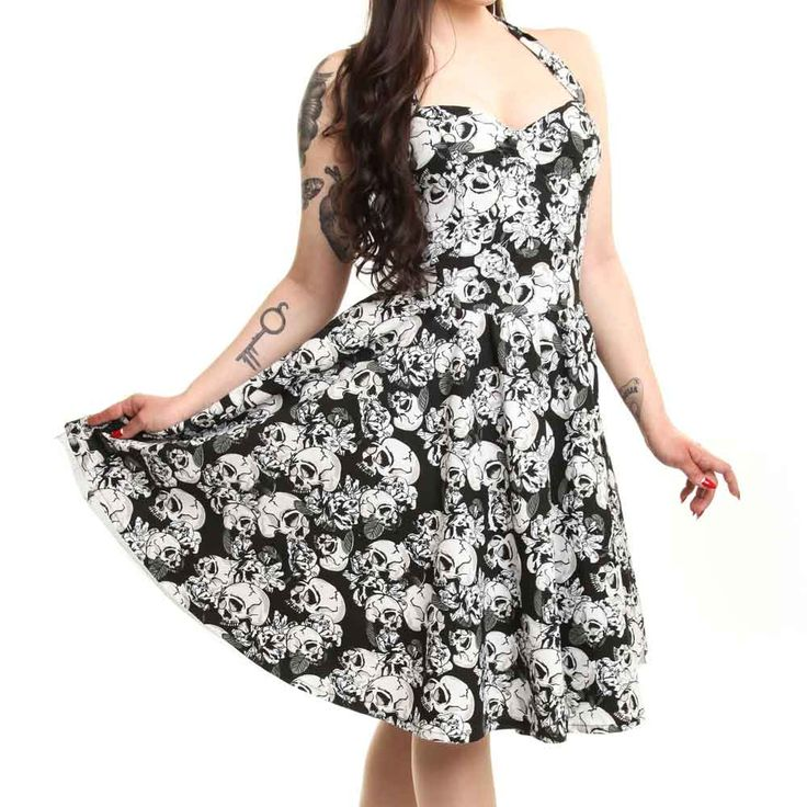 Josefine jurk met schedel print zwart/wit - Emo Rockabilly