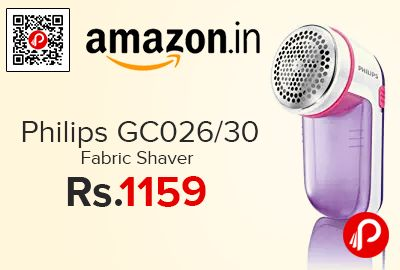Amazon is offering 22% off on Philips GC026/30 Fabric Shaver at Rs.1159 Only. Effective and quick pill removal, Up to 8800 rounds/min blade rotation for effective removal, 3 sizes of holes in the mesh to tackle all sizes of pills, The pill container is easy to remove and empty, 2 years on product Warranty.   http://www.paisebachaoindia.com/philips-gc02630-fabric-shaver-at-rs-1159-only-amazon/