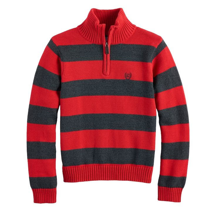 Boys 4-20 Chaps Striped Quarter-Zip Sweater, Size: 14-16, Med Red