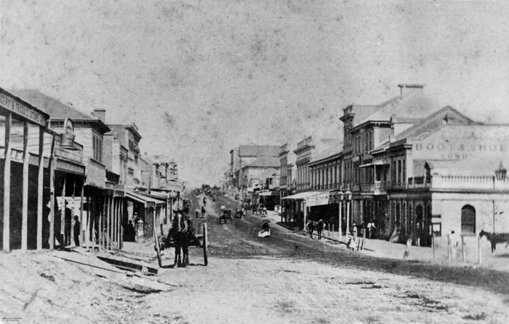 Queen Street, Brisbane, ca. 1868 -  looking south from the corner of Edward Street. State Library of Queensland. Negative number: 36322