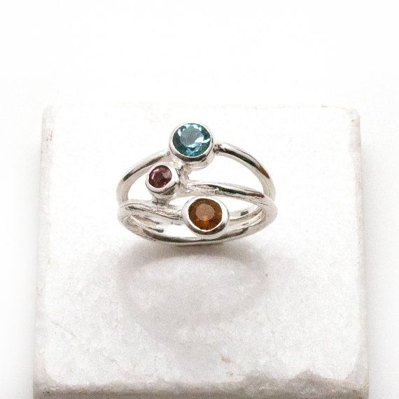 Multi-Gemstone Ring Sterling Silver Blue Topaz by SunSanJewelry