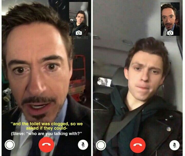 funny RDJ and Tom holland FaceTime memes
