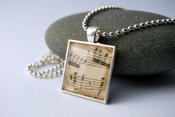 Music sheet jewelry necklace with glass pendant, $20.00