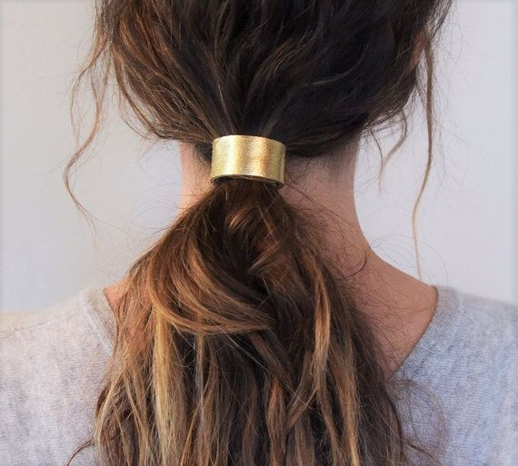 Mod Leather Hair Cuff Ponytail Holder in Gold size by Precocious