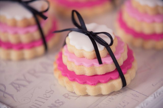 I love these tiny cookie stacks at a Paris party!  See more party ideas at CatchMyParty.com!  #paris #partyideas