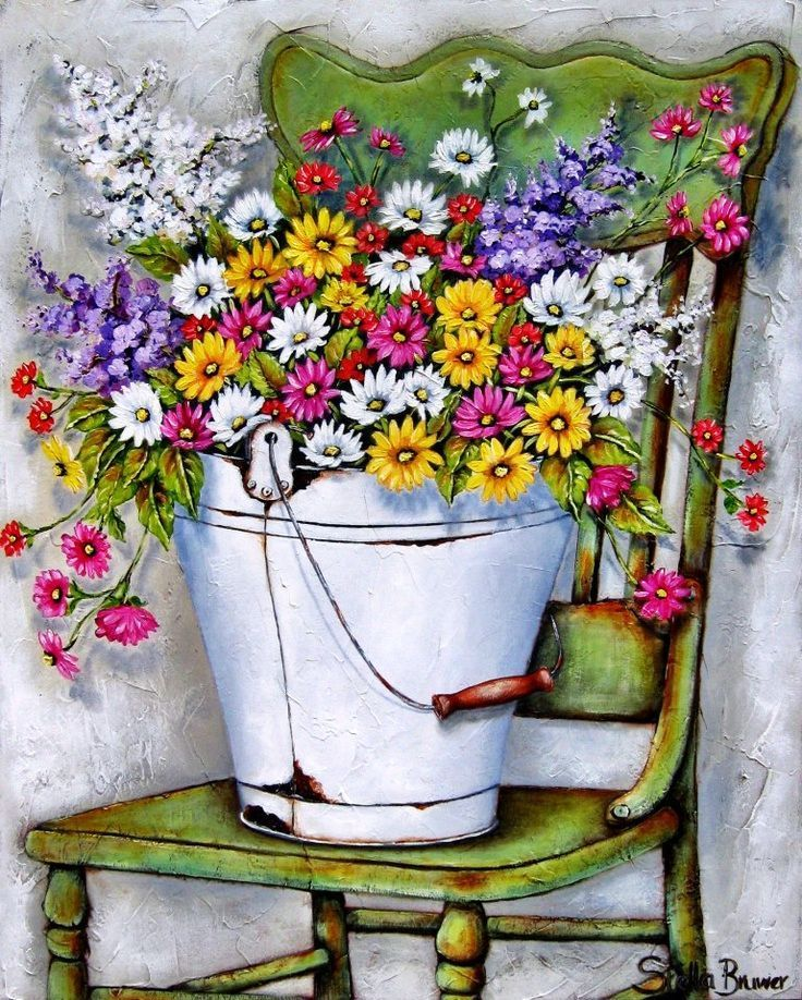 flowers in the bucket kettle art szukaj w google malowanie pinterest peinture d corative. Black Bedroom Furniture Sets. Home Design Ideas
