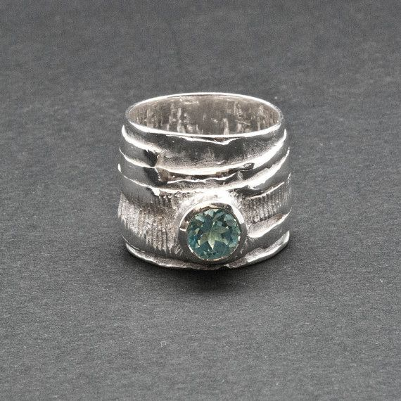 Wide Band Blue Topaz Ring Big Sculpture Statement by SunSanJewelry