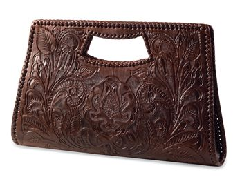 This browned tooled clutch is gorgeous!