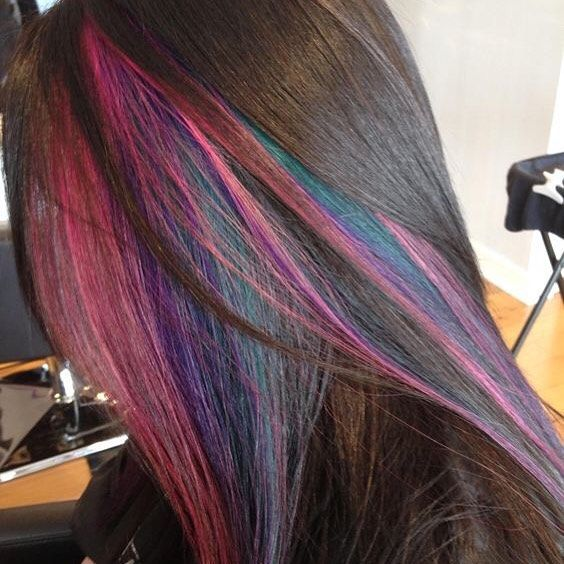 18 best hair hidden rainbow images on pinterest hairstyle bag peekaboo highlights on short dark hair pmusecretfo Gallery