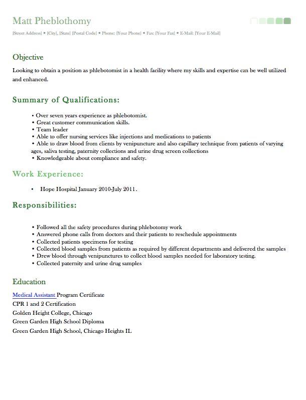 sample phlebotomist resume httpexampleresumecvorgsample phlebotomist phlebotomy resume examples