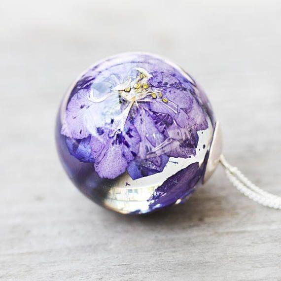 Real violet flower sphere pendant larkspur flower botanical