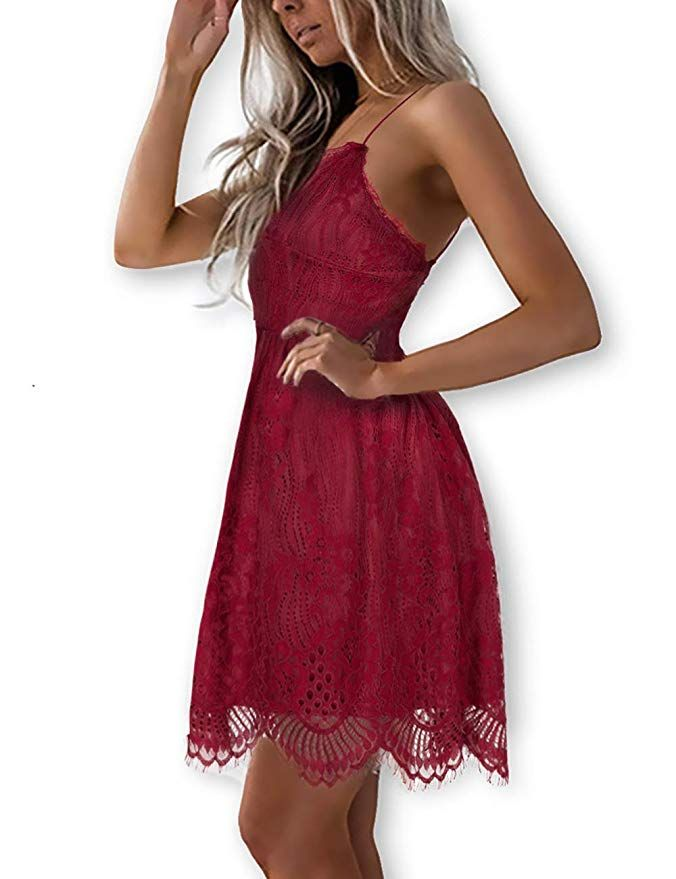 562d49bb9605 AOOKSMERY Women Summer V-Neck Spaghetti Straps Lace Backless Party Club  Beach Mini Dresses at Amazon Women s Clothing store