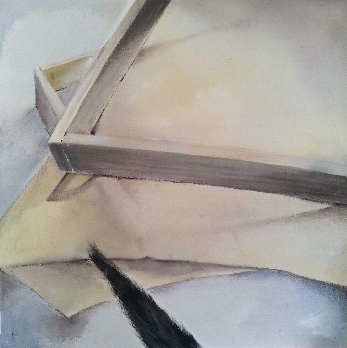 """yksityiskohta """"Sen jälkeen olin hiljaa"""" -kokonaisuudesta 2013, (detail from my Bachelor of Arts thesis) Acrylics, colored pencil on cotton duck"""
