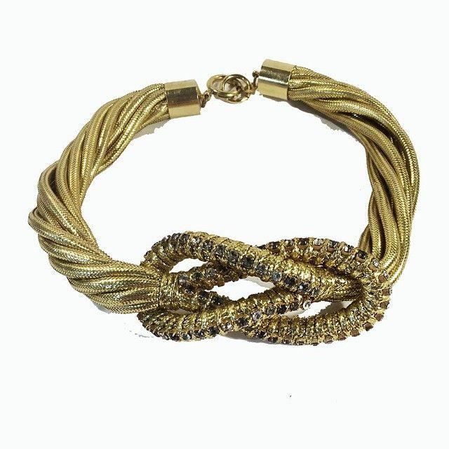 """#twisted #foxtail #rhinestone #ventured #pretzel #front #necklace #vintage #costume #fashion #jewelry #sherisvintagecollections #nyshowplace…"""