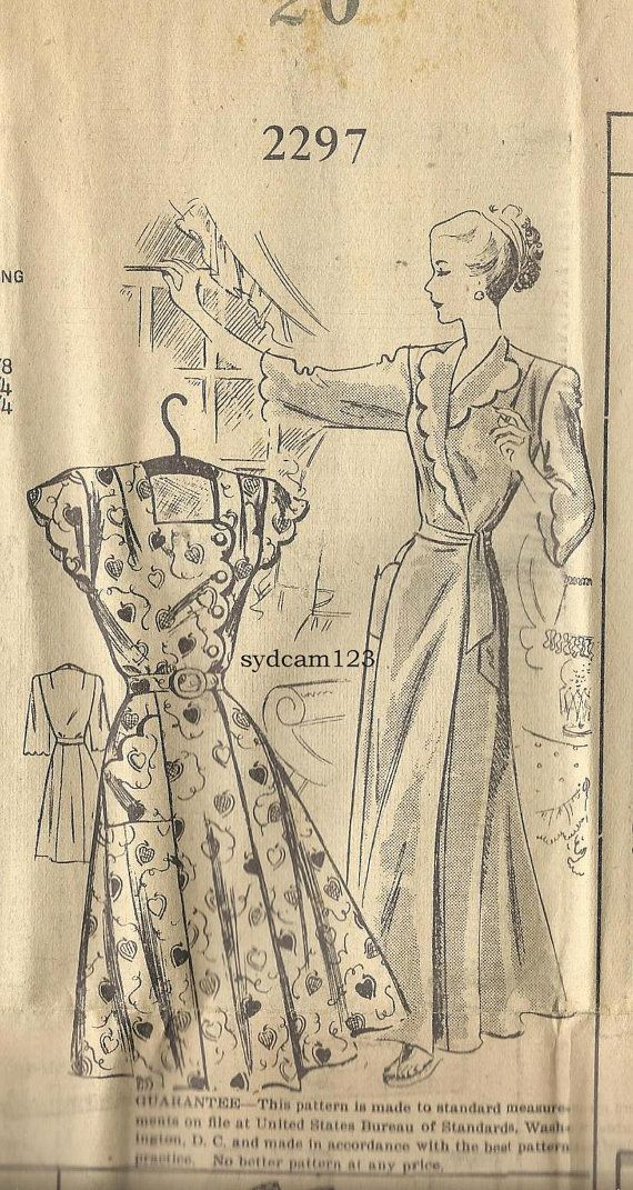Mail Order 2297 Vintage 1940s Scalloped Sleeve and Bodice Brunch Coat or Dress by sydcam123