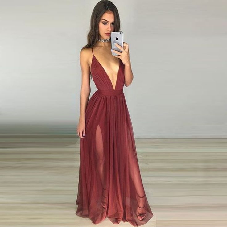 Sexy Maroon Tulle Prom Dress - Deep V Neck Long Ruched Backless