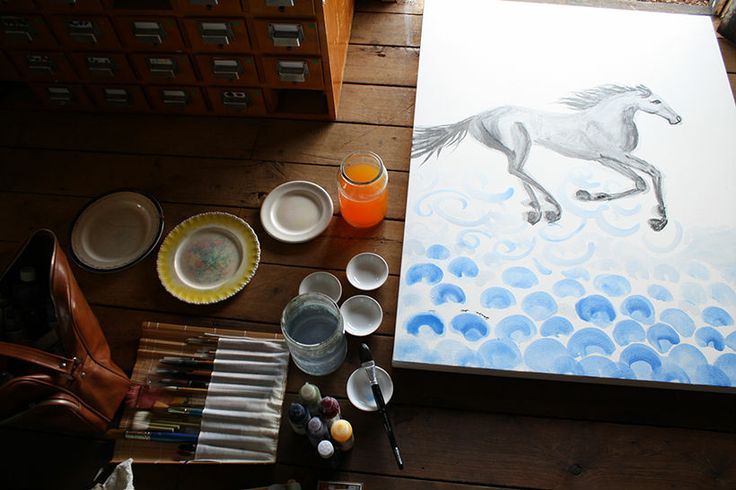 'Quick—Heavenly galloper' on my studio floor, with some tiny little horsey friends jumping over clouds near the bottom left of the work. I love my job! www.lauradouglas.com.au