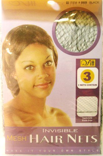 Invisible Mesh Hair Nets 3 Hair Nets in Package BLACK. 1 package of 3 black hair nets. Comfortable Elastic Edge. Ultra Stretch.