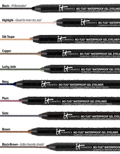 Utilizing cutting-edge technology exclusive to IT Cosmetics®, No Tug® Silk Automatic Waterproof Gel Eyeliners glide on saturated rich color without tugging on your delicate eyelids.