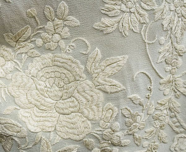 Detail, hand-embroidered silk cloak, via Vintagetextiles.com