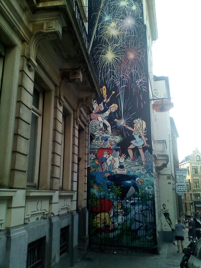 Comic Books On The Walls Of The City Of Brussels