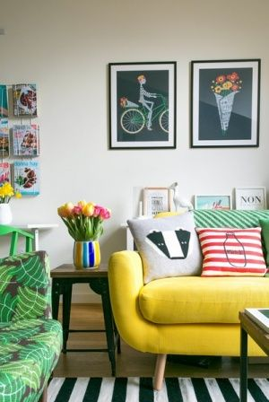 To-die-for yellow couch + living room striped rug via @will_uk