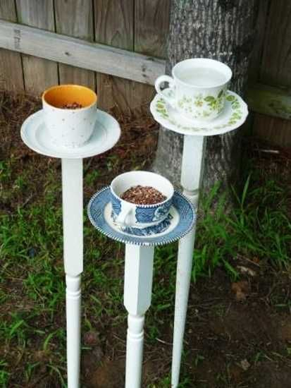 bird feeders made of vintage cups