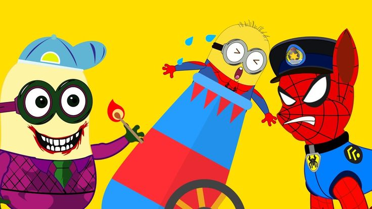 #Minions Banana Spiderman and Joker Cannon trap Paw Patrol #Funny Story #Superheroes IRL