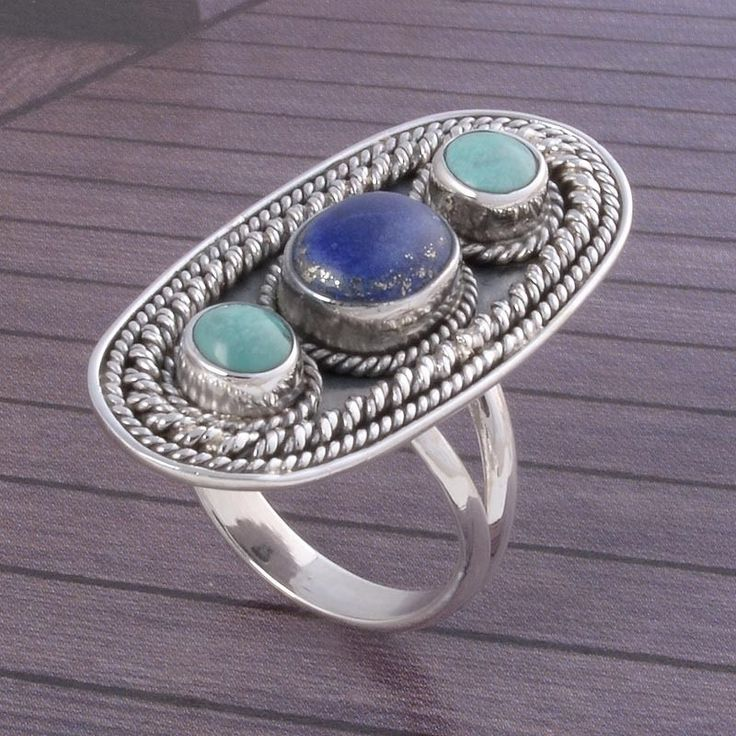 Lapis & Turquoise STONE 925 Solid STERLING SILVER Fancy RING 6.85g DJR3591 #Handmade #Ring