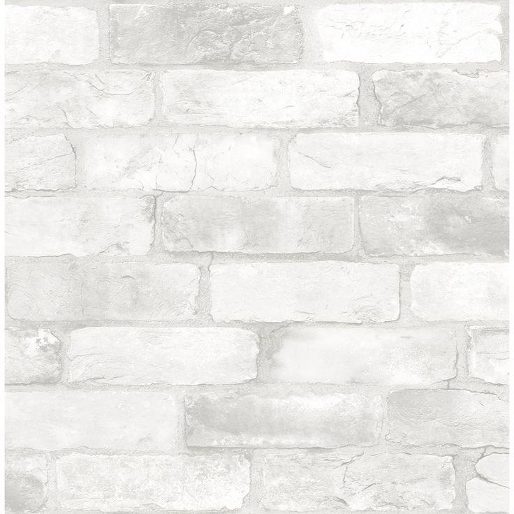 WallPops NuWallpaper 30.75-sq ft White Vinyl Brick Self ...