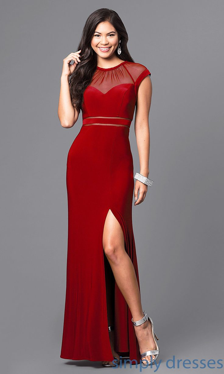 Cheap Long Illusion Prom Dress with Cap Sleeves