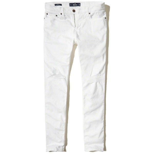 Hollister Skinny Jeans ($39) ❤ liked on Polyvore featuring men's fashion, men's clothing, men's jeans, ripped white, mens ripped jeans, mens super skinny jeans, mens stretch denim jeans, mens white jeans and mens denim jeans