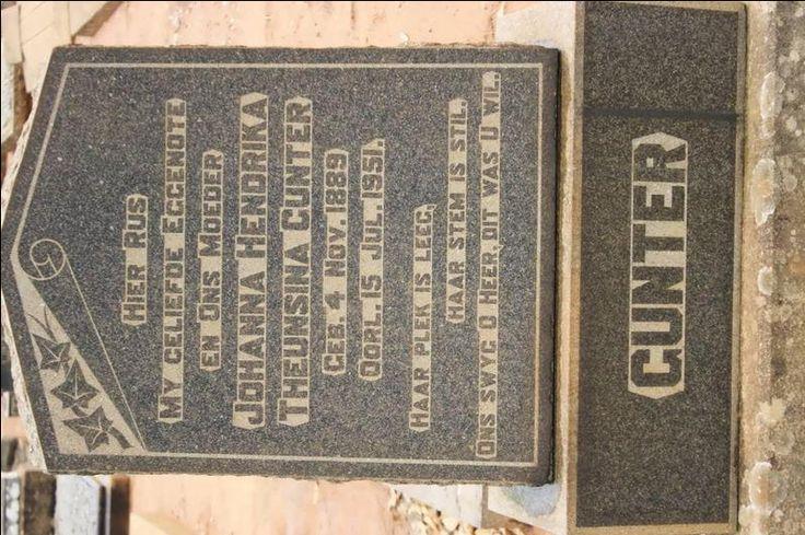 GUNTER Johanna Hendrika Theunsina 1889-1951 Kwazulu- Natal, VRYHEID, Main Cemetry