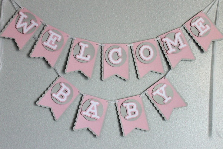 Baby shower welcome baby banner girl banners pinterest for Welcome home decorations for baby